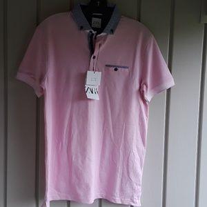 Zara mens pink polo shirt size small NWT
